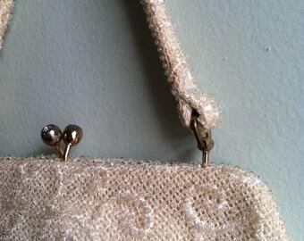 Classy Lumured Petite-Bead Ivory Handbag