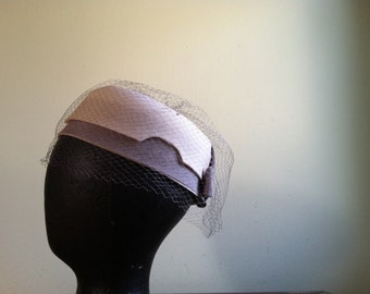 Headpiece with Veil in Cream and Gray