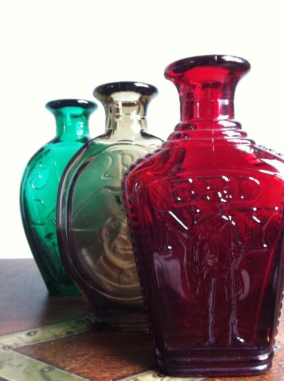 Trio of Colored Glass Jars