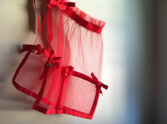 Red Apron - Transparent Netting with Jingle Bells