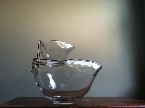 The Classiest Vintage Glass Chip and Dip Set