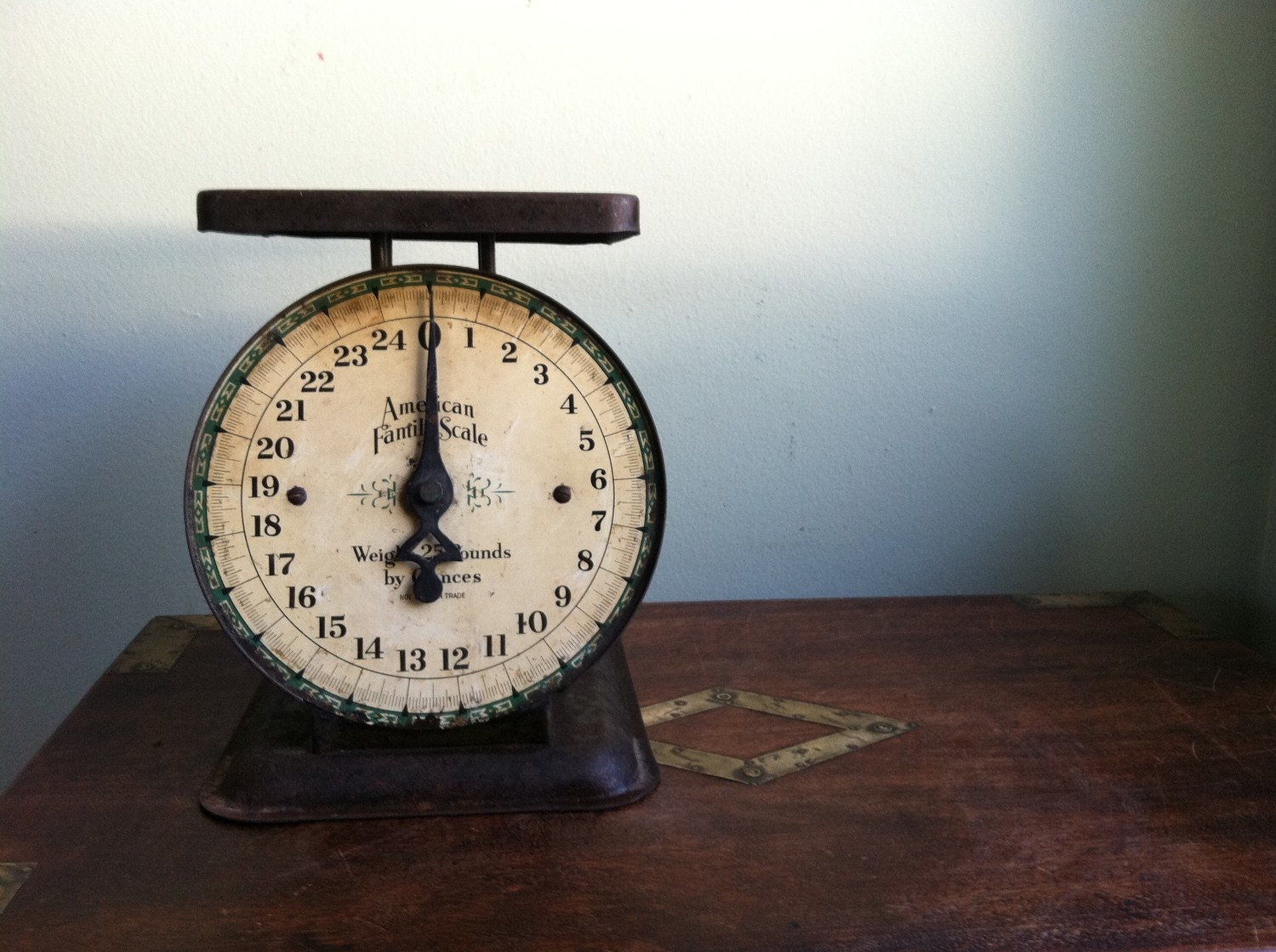 vintage metal kitchen scale by american family scale cream