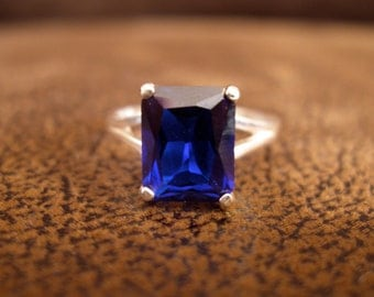 Blue Sapphire Ring - Lab Blue Sapphire