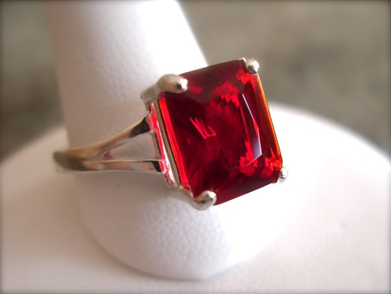 Red, Red, Ruby Ring in Sterling Silver Setting - Size 7 - Ready to Ship