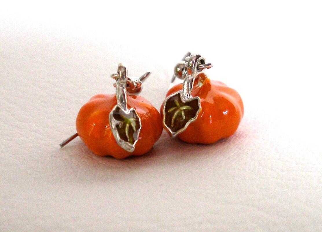 pumpkin earrings orange earrings autumn earrings