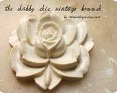 Vintage Brooch Rose WHITE ROSE Shabby Chic