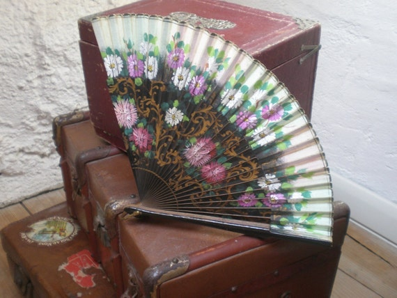 Antique Hand-Painted Floral Fan Late 19th Century