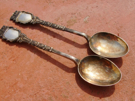 Antique pair of silver spoons SHABBY CHIC