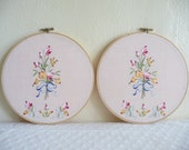 handmade love in bloom, gift set of two, 8 inch wooden hoops by thelittlemarket on etsy