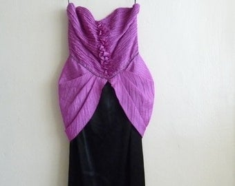 purple and black strapless large bow dress