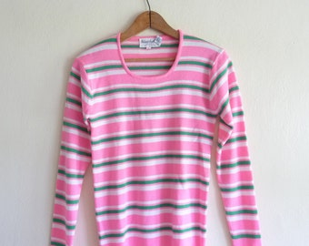 pink green stripe preppy spring sweater