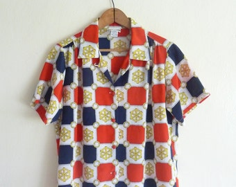 nautical sailor red white blue summer top, 4th of July