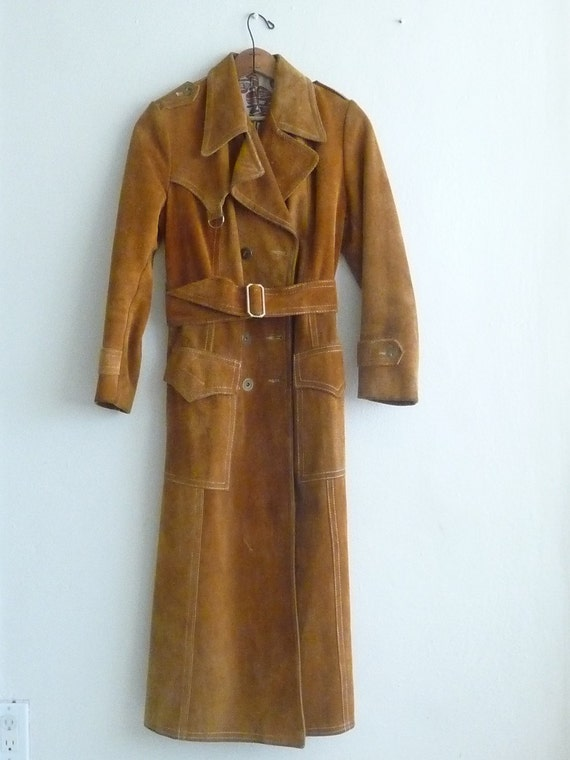long princess coat fall winter brown suede leather, 1970s vintage