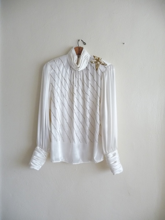 pale ivory and gold long sleeve blouse, sequins, fabulous under 20 dollars