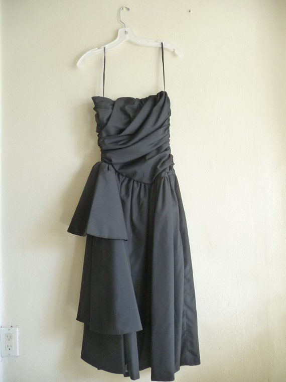 80s black strapless dress / formal evening dress, xsmall small