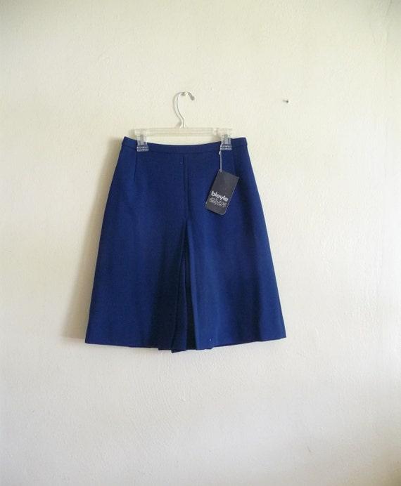 vintage 70s nautical navy blue culotte skirt, petite
