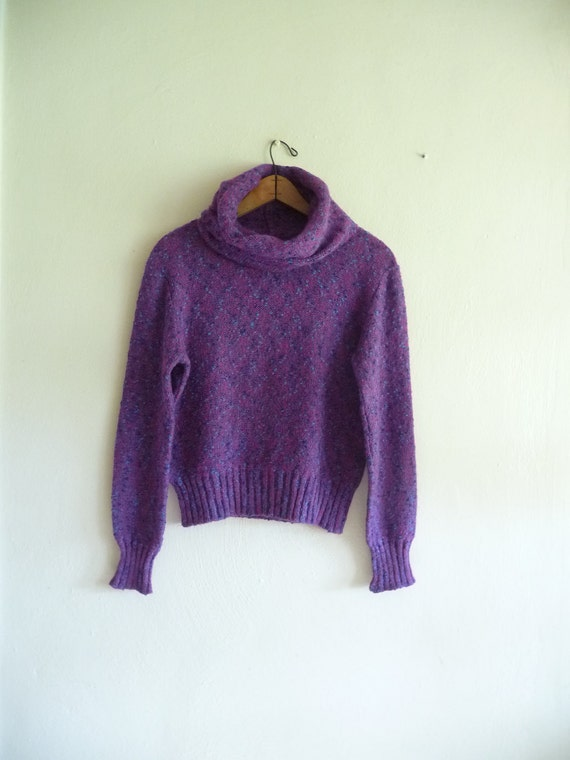 vintage fall winter sweater, amethyst purple cowl neck turtleneck