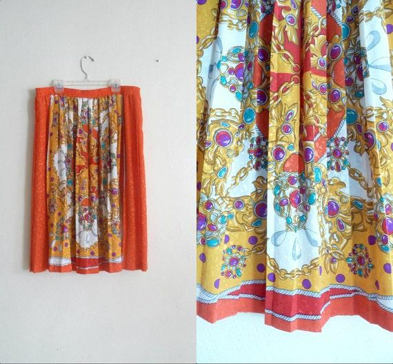 80's vintage skirt scarf print midi length, medium large