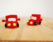 Red Car with Mirrors Wool Baby Boots, up to 12 Months