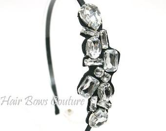 Womens Rhinestone Beaded thin satin Headband Girls Bridal Accessories Headband Hollywood Glam Crystal bling headband