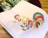 Colorful Rooster - Hand Embroidered Kitchen Dish Towel