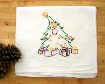 Happy Christmas Tree - Hand Embroidered Kitchen Dish Towel