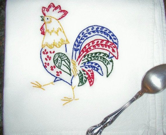 Rooster in red, blue, yellow and green- Hand Embroidered Kitchen Dish Towel