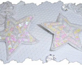 Celestial Star 2 in 1 Pin Brooch pair with Aurora borealis sequins in white... Bridal.. Summer wedding
