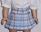 Blue Plaid Pleated Skirt with Blouse and Panties fits American Girl Doll