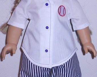Baseball Uniform fits 18 inch Doll