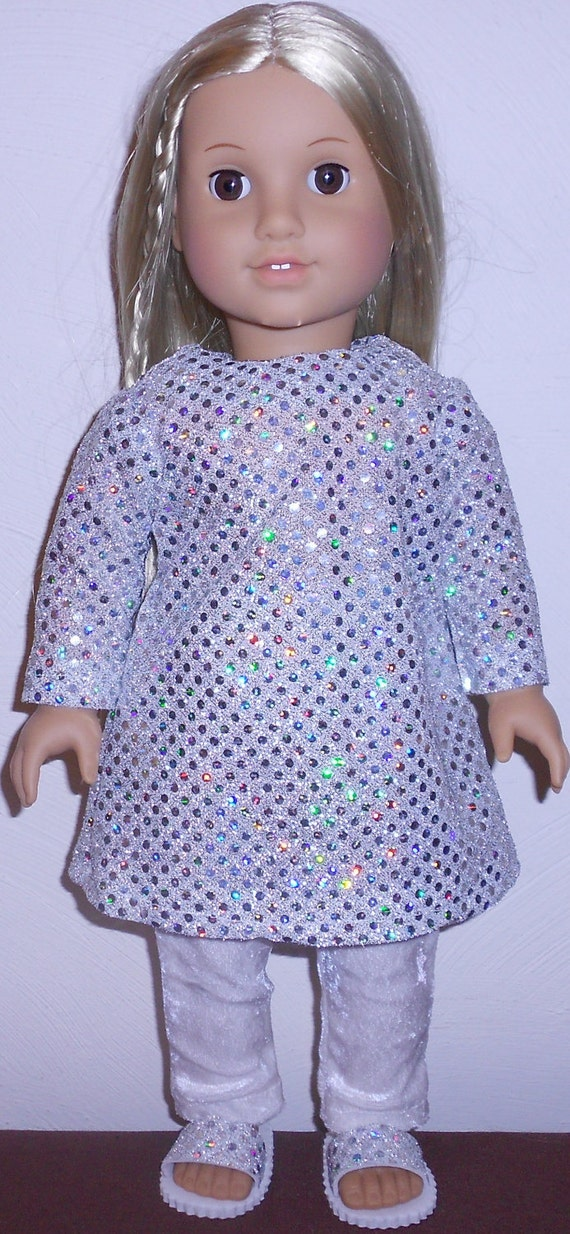 Silver Sequin Party Outfit with Matching Shoes fits American Girl Doll