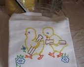 Flour Sack Towel Tea Towel Kitchen Vintage Style Chicks Chicken Laundry Day