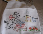 Flour Sack Tea Towel Vintage Style Wash Day Scotty Puppy Dog