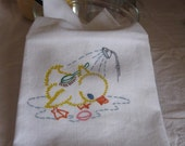 Flour Sack Towel Tea Towel Kitchen Vintage Style Showering Duck Handpainted