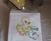 Flour Sack Towel Tea Towel Kitchen Vintage Style Ironing Duck