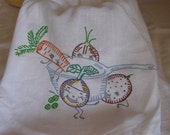 Flour Sack Towel Tea Towel Kitchen Vintage Design Happy Veggies