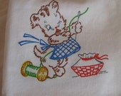 Flour Sack Towel Tea Towel Kitchen Helpful Puppy Dog Mending Day Handpainted On Two Panels and Corners