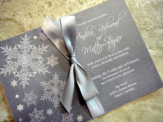 Cool and Frosty Silver Snowflake Invitation Sample Set