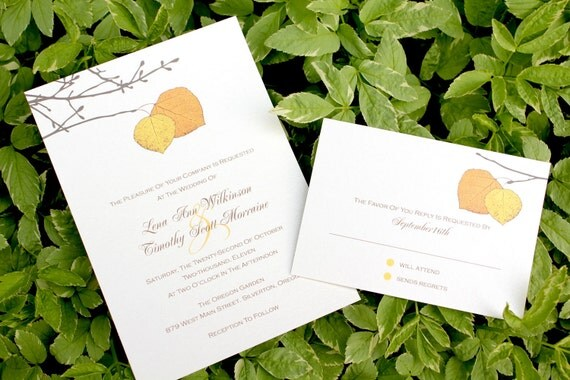 ASPEN - *Sample* Fall Golden Yellow and Orange Aspen Leaf Wedding Invitation includes reply card and envelopes