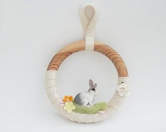 Spring Wreath, Rabbit Wreath, Farm Animals Wreath, Nursery Wall Decor, Kids Room Decoration, OOAK