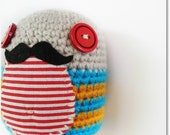 Señor Monsieur - Cute mustached egg - White, yellow and turquoise amugurumi