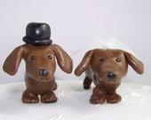 Cute Dachshund Lovers Wedding Cake Topper - Wedding Decor