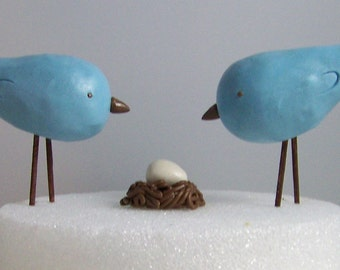 Custom Bird Cake Topper with Nest and Egg - Colors of Choice