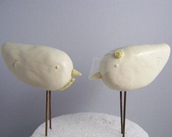 Custom Love Bird Wedding Cake Topper Birds - Vintage Decor - Colors of Choice