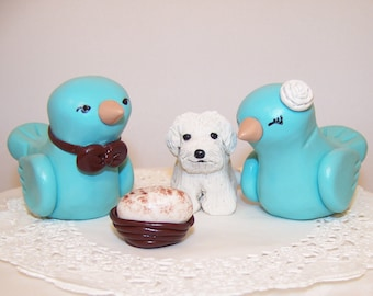 Custom Wedding Birds Cake Topper with Pet, Nest and Egg - Choice of Colors