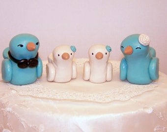 Love Birds Wedding Cake Topper - Modern Family Custom Choice of Colors