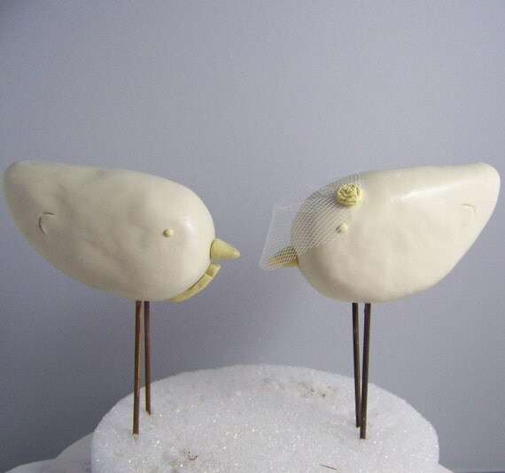 Custom Love Bird Wedding Cake Topper Birds - Vintage Decor - Colors of Choice