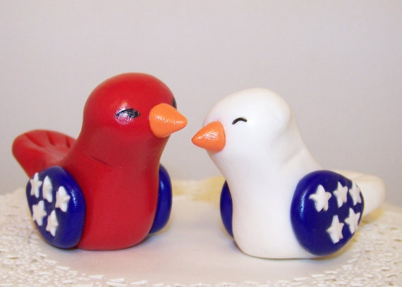 Patriotic Love Bird Wedding Cake Topper Sculptures - Choice of Your State/Country Colors