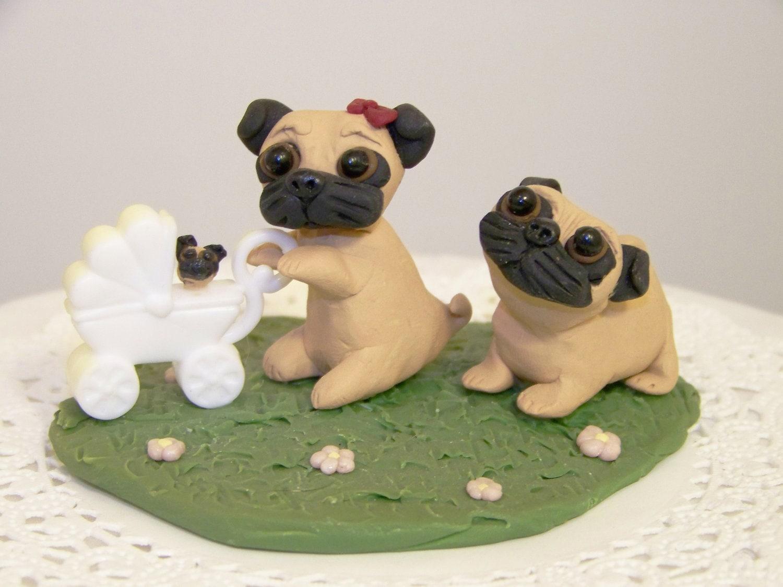 Items similar to Custom Pug Dog Wedding Cake Topper Pug