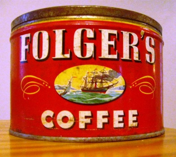 Vintage folger 39 s coffee can - What are coffee cans made of ...
